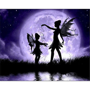 Mother and Daughter Elf/Fairy in the Purple Moonlight with Fairy Dust, DIY Diamond Painting Kit
