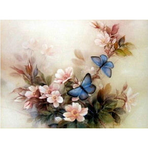 Pastel Pink Flowers with Blue Butterflies, DIY Diamond Painting Kit