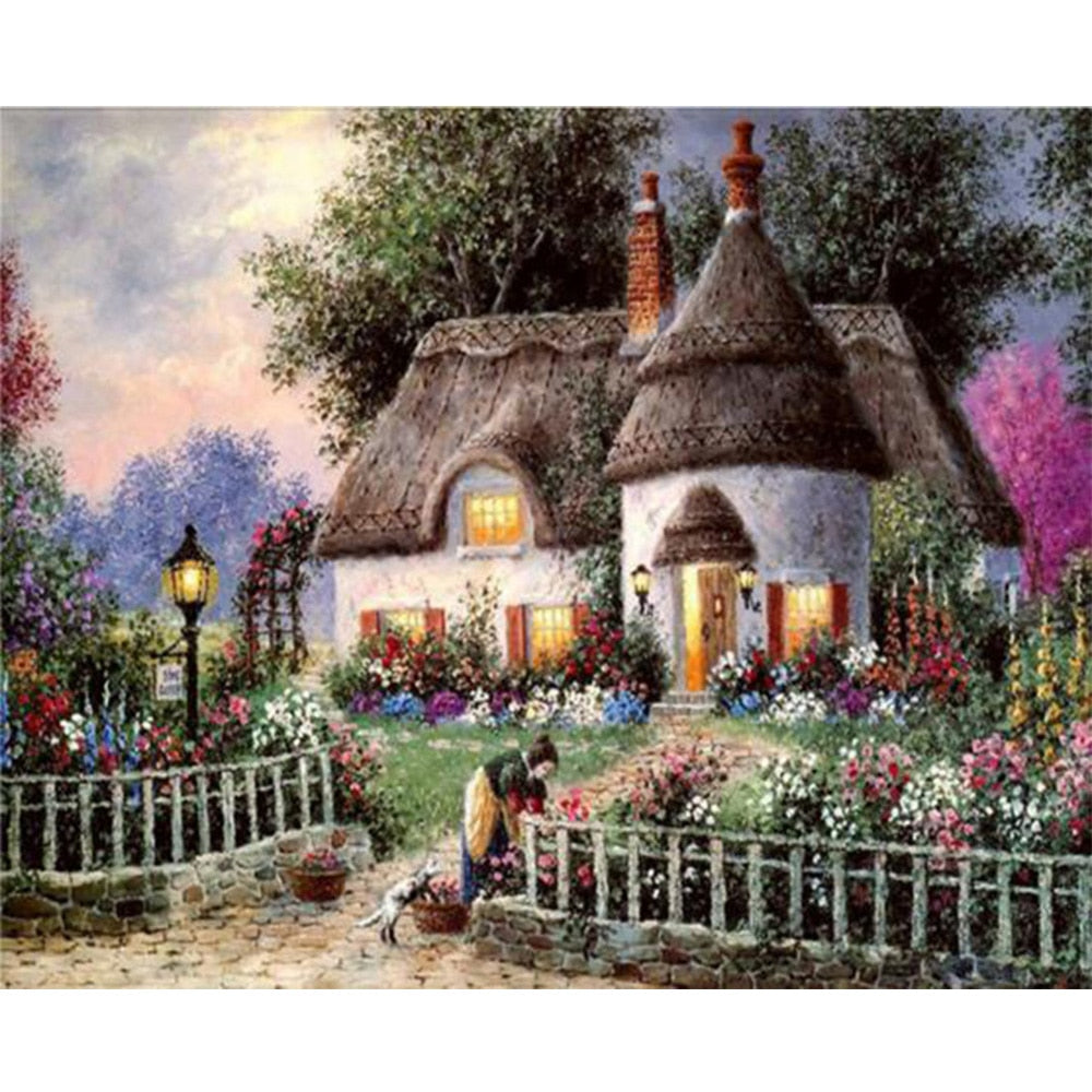 Country Cabin, Thatched Roof, Flower Garden, DIY Diamond Painting Kit