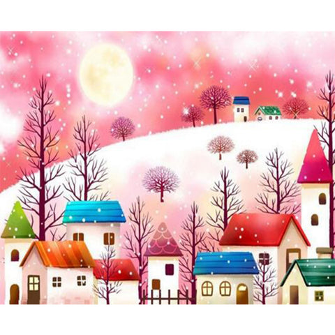 Cartoon Village in the Snow, DIY Diamond Painting Kit