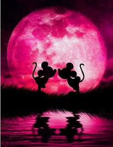 Mickey and Minnie Kissing in Front of a Pink Moon, DIY Diamond Painting Kit