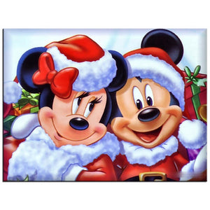 Mickey and Minnie Christmas, Santa Hat, DIY Diamond Painting Kit
