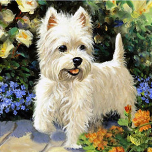 White Westy Dog, DIY Diamond Painting Kit