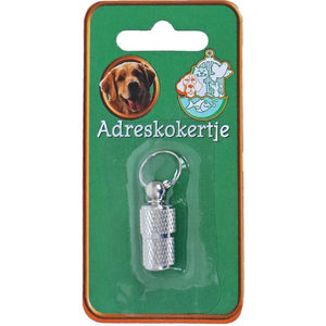 Adreskoker chroom hond 26 mm blister