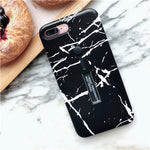For iphone 6 6s 7/8 PLUS X Fashion Marble Soft silicon Ring Phone Case For iphone x Case Hide Stand Holder Cover For iphone 6s