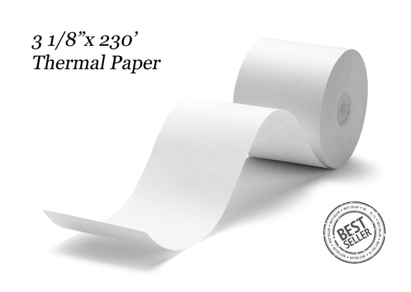 "3 1/8"" x 230' Thermal Paper (50 rolls/case)"