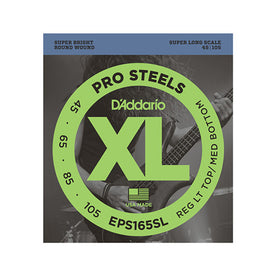 D'Addario EPS165SL Prosteels Round Wound Bass Guitar Strings, Custom Light, 45-105, Super Long Scale