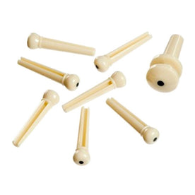 D'Addario PWPS12 Molded Bridge Pins with End Pin, Set of 7, Ivory with Black Dot