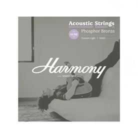 Harmony HA02 Phosphor Bronze Acoustic Guitar Strings, Custom Light, 11/52
