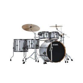 TAMA ML52HZBN2-SSV Superstar Hyper-Drive Duo 5-Piece Drum Shell Kiit, Satin Silver Vertical Stripe
