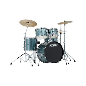 TAMA SG50H6C-CSV Stagestar 5-Piece Drum Kit w/ Hardware+Throne+Cymbals, Charcoal Silver