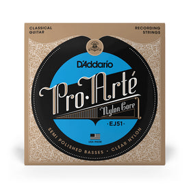 D'Addario EJ51 Pro-Arte with Polished Basses Classical Guitar Strings, Hard Tension