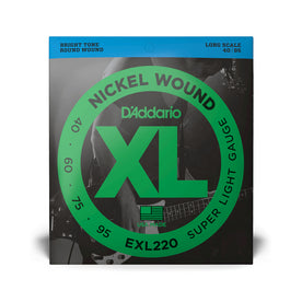 D'Addario EXL220 Nickel Wound Bass Guitar Strings, Super Light, 40-95, Long Scale