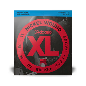 D'Addario EXL230 Nickel Wound Bass Guitar Strings, Heavy, 55-110, Long Scale