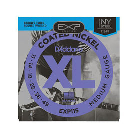D'Addario EXP115 Coated Nickel Wound Electric Guitar Strings, Medium/Blues/Jazz, 11-49