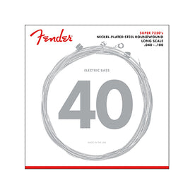 Fender 7250L Nickel Plated Steel Roundwound Long Scale Bass Guitar Strings, 40-100
