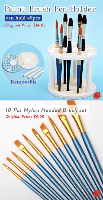 10 Pcs Nylon Headed Brush Set and 49 Brush Holder