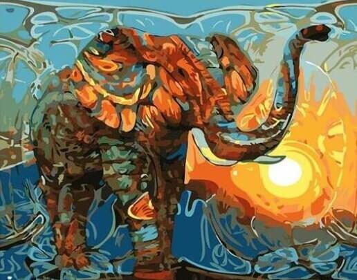 Elephant Of Wild Colors - DIY Painting