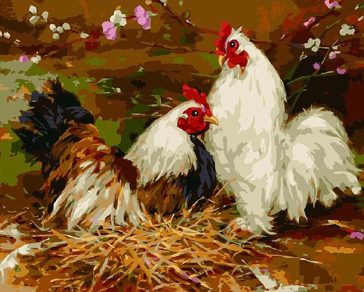 Beautiful Painting of Farm Chickens DIY Painting Kit