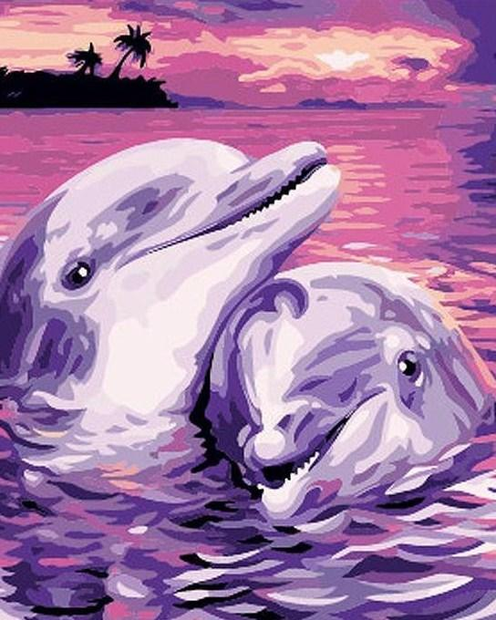 Adorable Dolphins Scenery Painting Kit