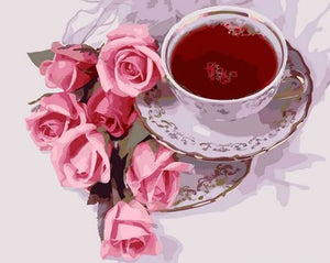 Amazing Sceneary of Pink Roses with Tea - DIY Painting