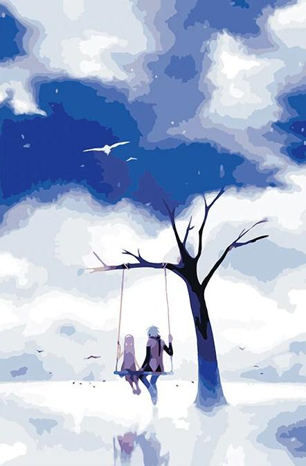 A Tree With Swing In Dream WorldPaint by Numbers