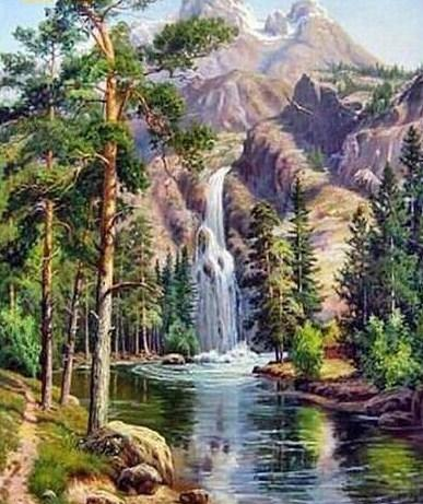 Beautiful Scenery of Waterfall Paint by Numbers Kit