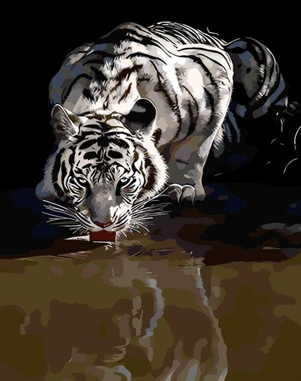 The Thirst of White Tiger -  Paint By Numbers