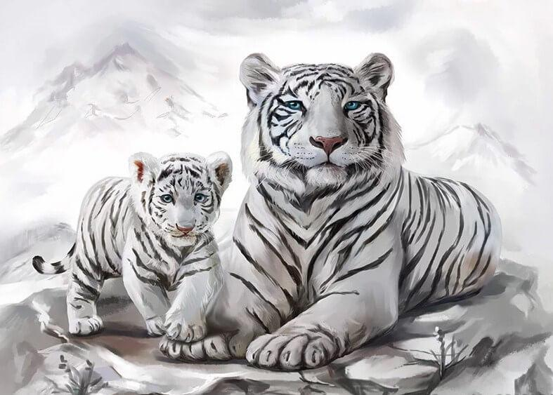 Amazing Rare White Tiger Familty -  Paint By Numbers