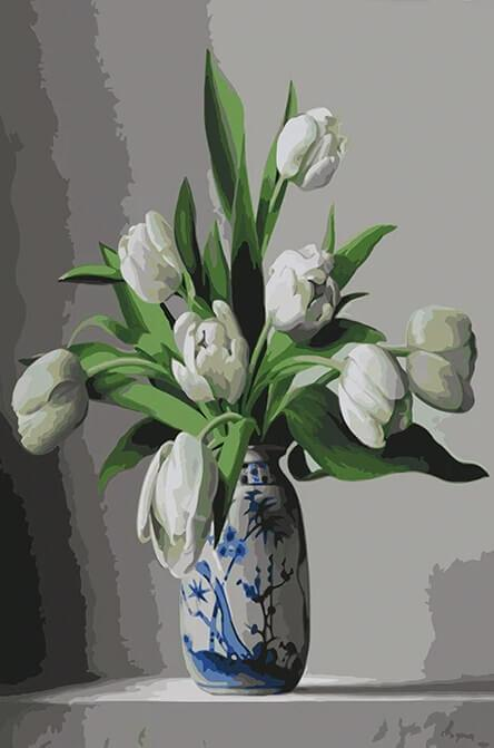 Stunning White Tulips -  Paint By Numbers