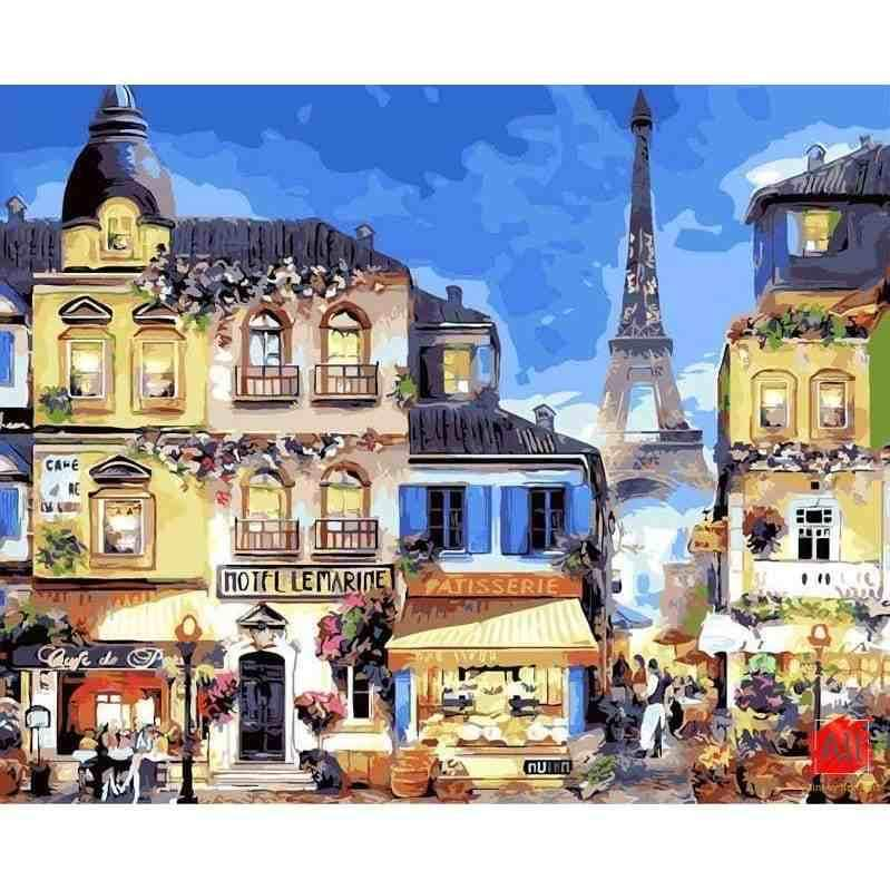 Adorable Painting of Paris Streets - Paint-by-number kits