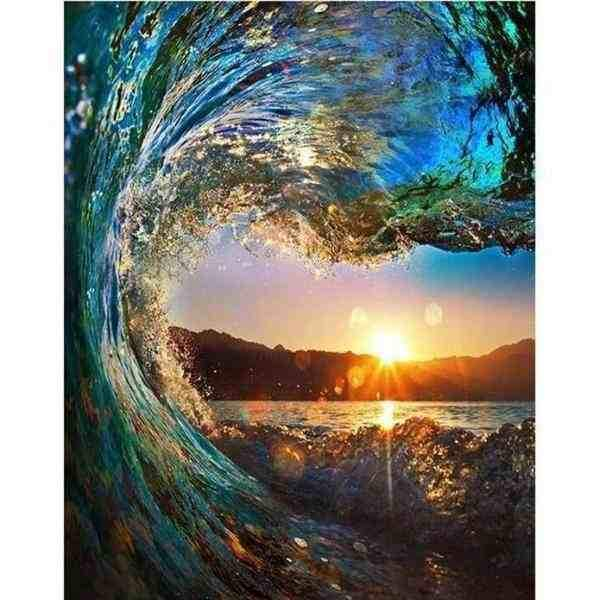 Paint By Numbers - Wave Sunset Painting