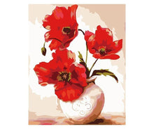 Load image into Gallery viewer, red flowers paint by numbers