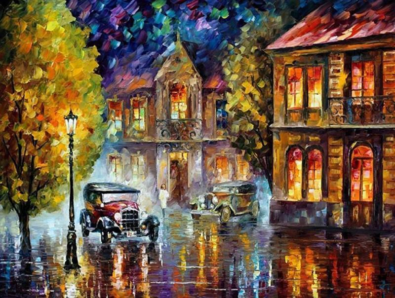 Lovely Painting of Rain At Night In Streets