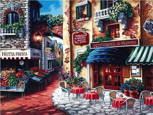 Beautiful Painting of Coffee Shop