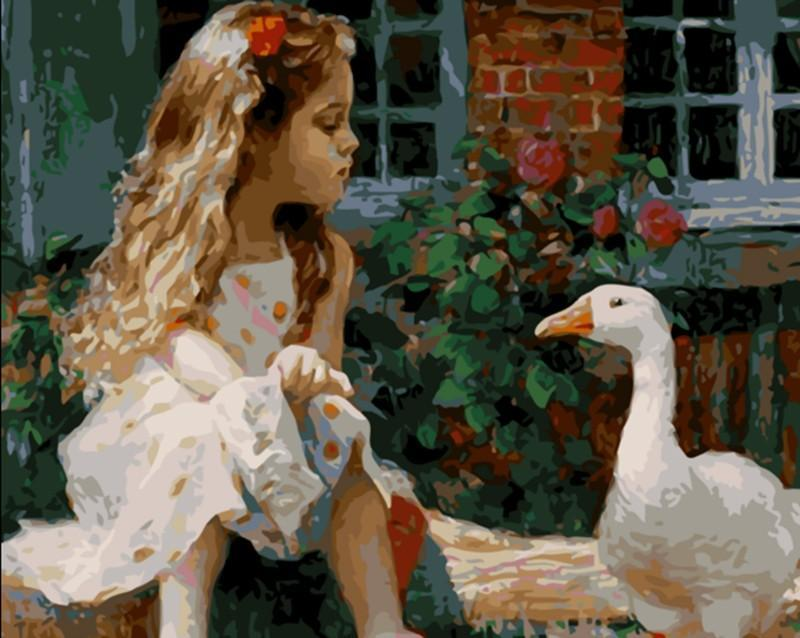 Painting of Adorable Girl With Duck