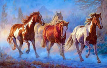 Load image into Gallery viewer, Stunning Painting of Stallions Rushing In Wild