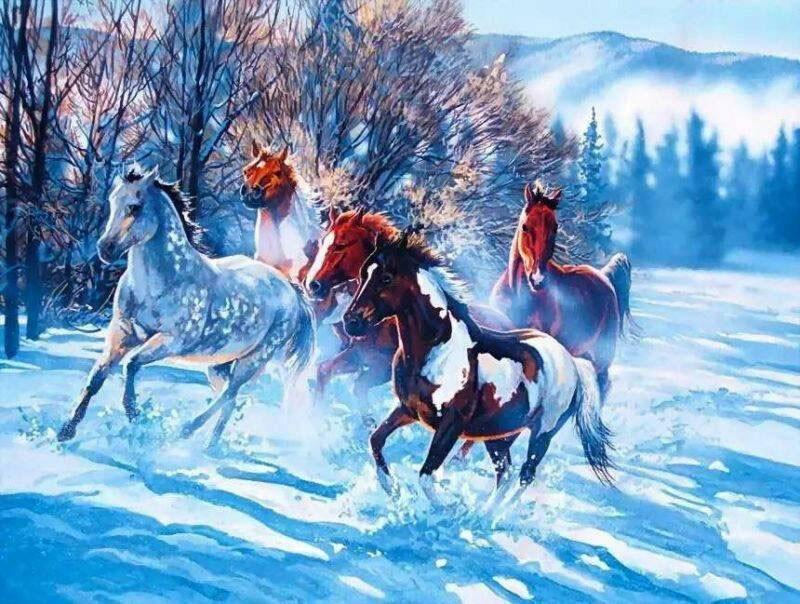 Horses Running in the Snow Painting