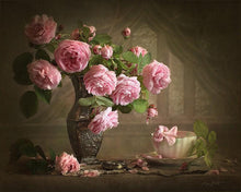 Load image into Gallery viewer, pink roses painting kit by numbers