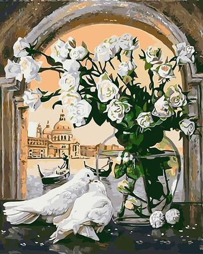 Amazing Painting of Pigeons And White Flowers