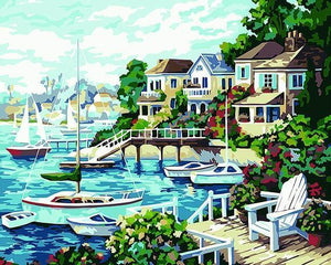 Elegant Painting of Houses at Lake