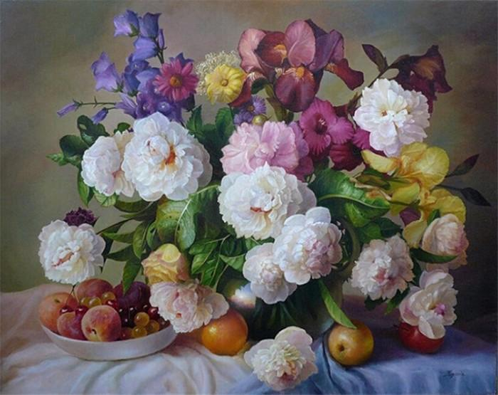 Beautiful Painting of Colorful Peonies