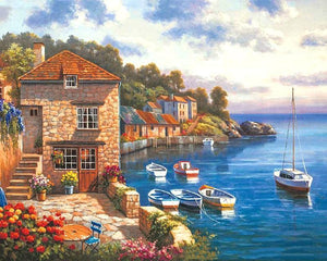 Beautiful Painting of Town at Shore