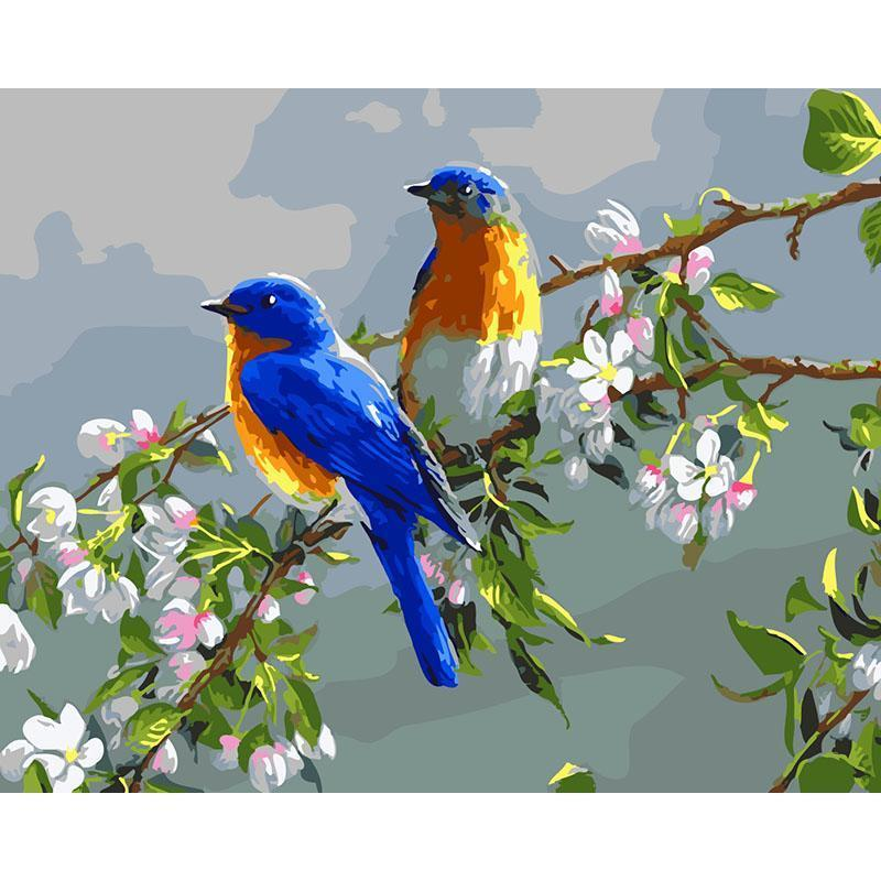 Adoable Sparrows in Flowers Branches - Painting by Numbers