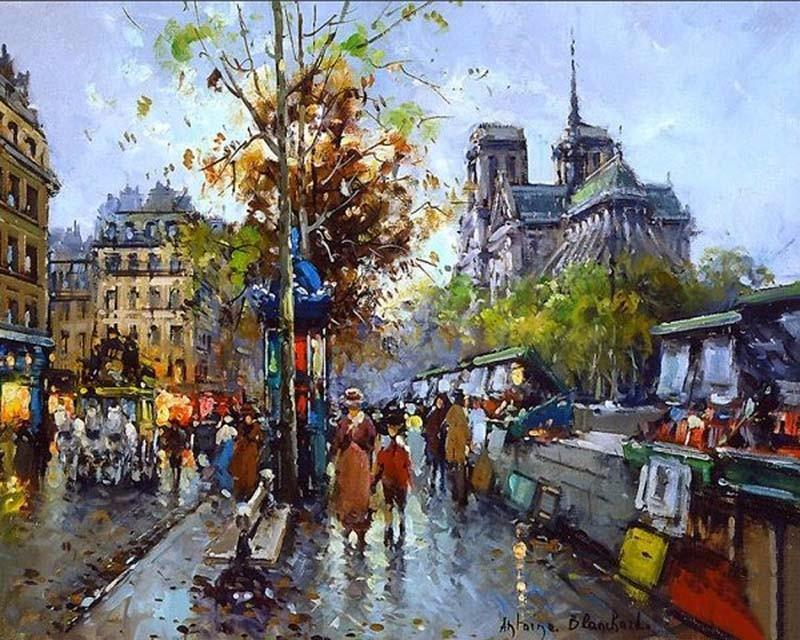 Beautiful Painting of Busy Streets