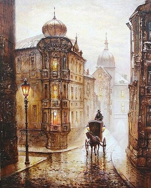 Vintage Painting of Cart in Europe Streets