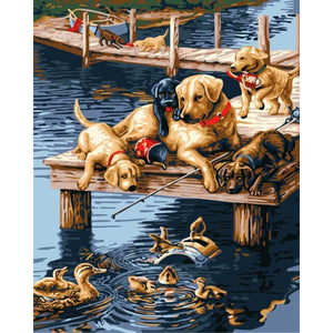 Cute painting of Dog Playing with Ducks