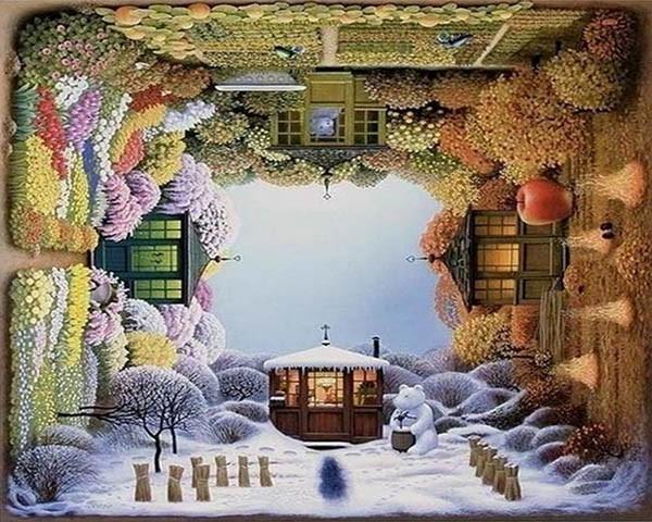 Creative Painting of House in Four Seasons