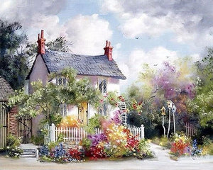 Small house and Colorful Flowers - Paint by Numbers
