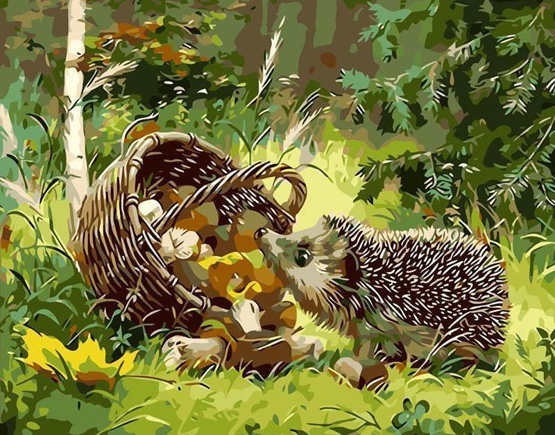 Painting of Little Hedgehog eating Mushrooms